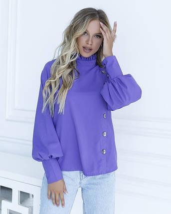 Фиолетовая блуза с вставкой и рюшами, фото 2