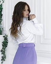 Белая блуза с вставкой и рюшами, фото 2