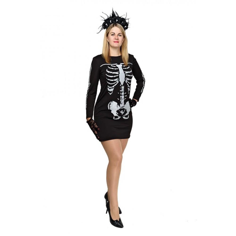 Костюм Скелета для взрослого женский на Хэллоуин,Новый Год,праздник
