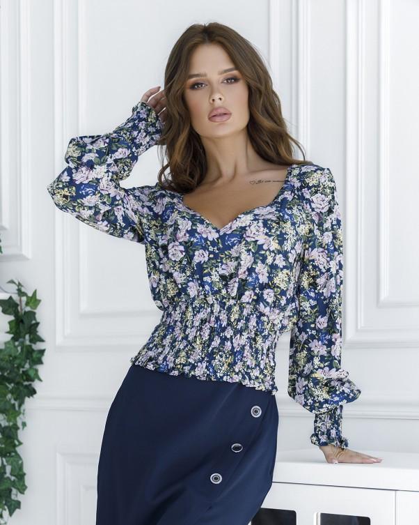 Синяя укороченная блуза с жаткой