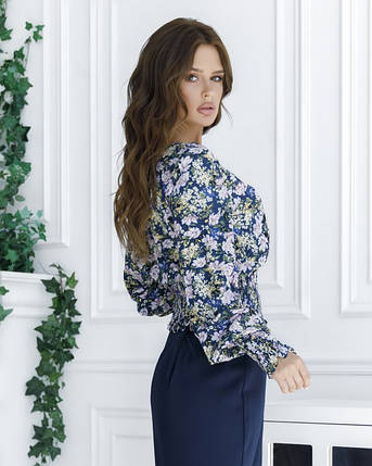 Синяя укороченная блуза с жаткой, фото 2