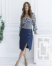 Синяя укороченная блуза с жаткой, фото 3