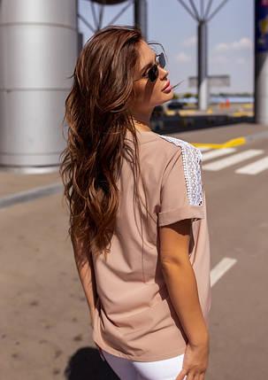 Бежевая свободная блуза с кружевом, фото 2