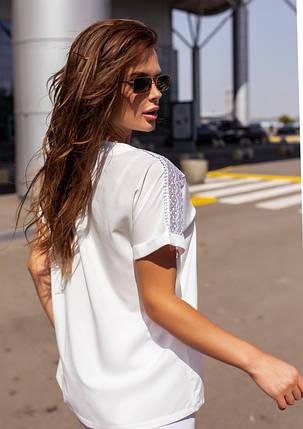 Белая свободная блуза с кружевом, фото 2