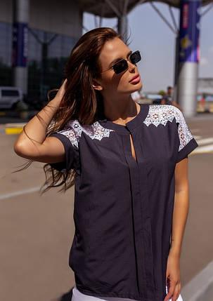 Темно-синяя свободная блуза с кружевом, фото 2