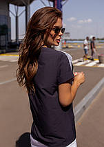 Темно-синяя свободная блуза с кружевом, фото 3