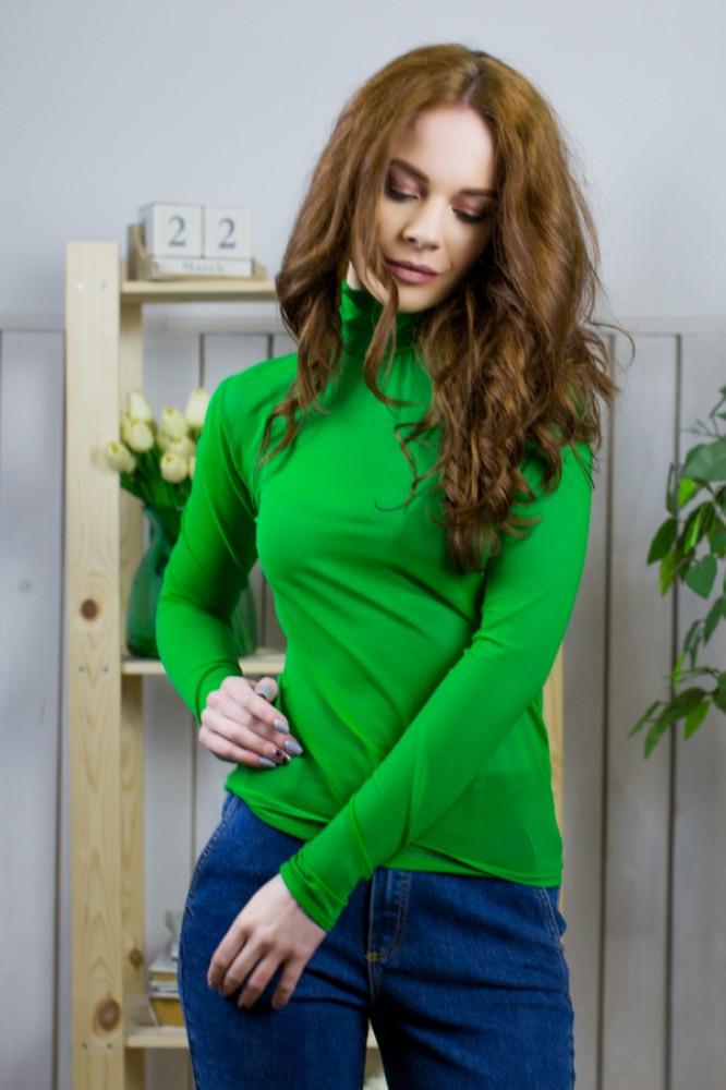 Водолазка зеленая женская сетка