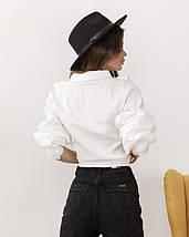 Белая коттоновая женская рубашка с рюшами, фото 2