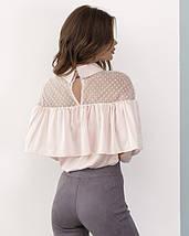 Розовая атласная блуза с воланом, фото 2