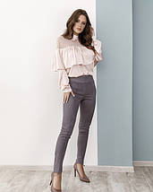 Розовая атласная блуза с воланом, фото 3