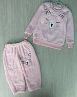 Костюм на девочку, трехнить+велсофт, кенгуру, розовый