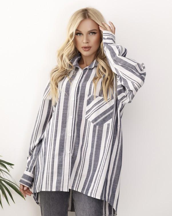 Серо-белая полосатая льняная женская рубашка