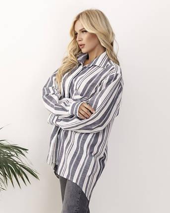Серо-белая полосатая льняная женская рубашка, фото 2
