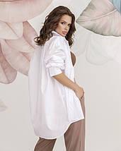 Белая коттоновая женская рубашка в стиле оверсайз, фото 2