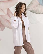 Белая коттоновая женская рубашка в стиле оверсайз, фото 3