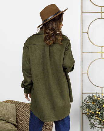 Замшевая асимметричная женская рубашка цвета хаки, фото 2