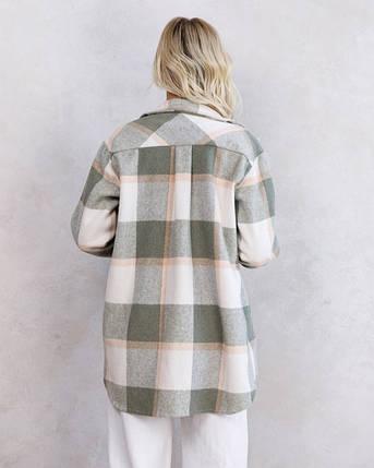 Клетчатая байковая асимметричная женская рубашка цвета хаки, фото 2