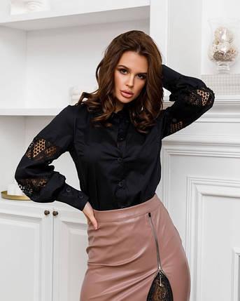 Черная хлопковая женская рубашка с кружевными вставками, фото 2
