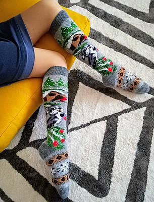 Женские гольфы шерстяные высокие носки зимние новогодние гетры Зайчики на сером (на худенькую ножку), р. 37-40, фото 2