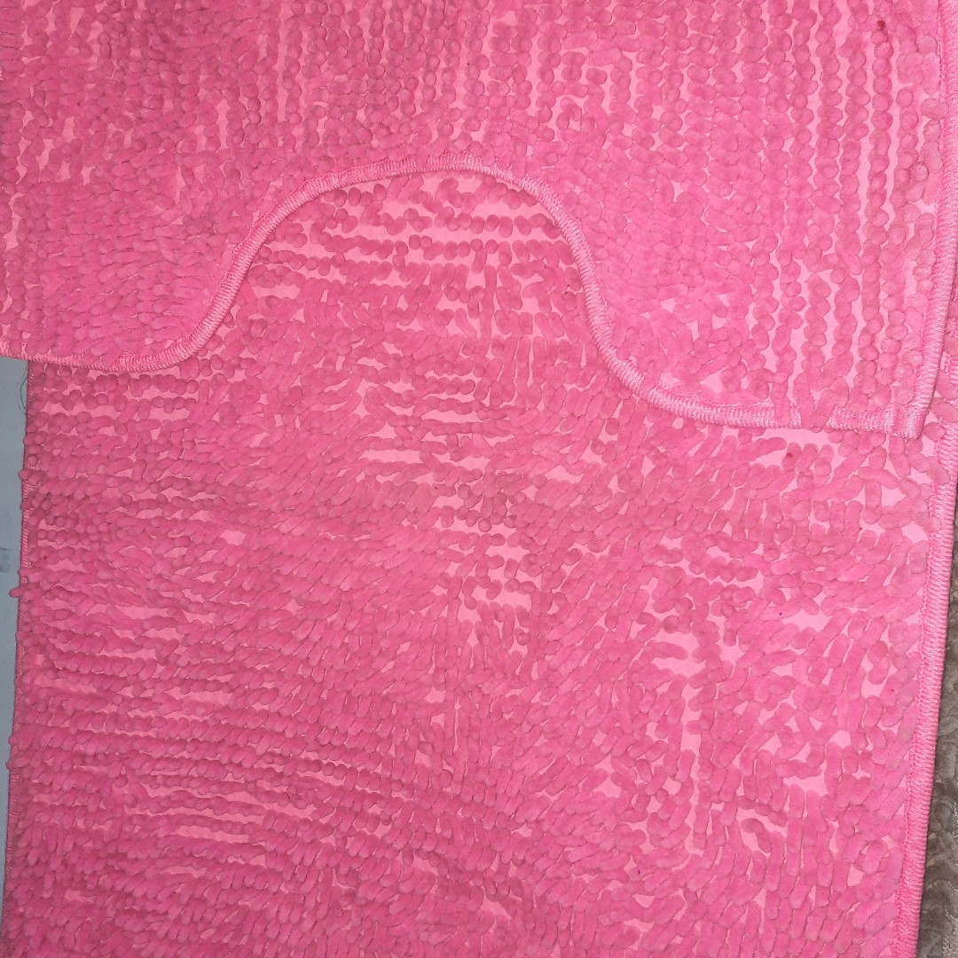 Набор ковриков в ванную и туалет с вырезом ROOM MAT 2 в 1 Микрофибра антискользящий розовый
