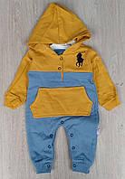 Комбинезон Murat Baby, 0-3-6-9 мес, двухнить, карман, оранжевый+серый