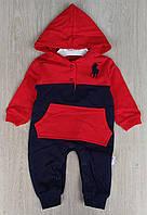 Комбинезон Murat Baby, 0-3-6-9 мес, двухнить, карман, красный+темно синий