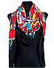 Теплый полушерстяной платок Леона 135*135 см красный/черный