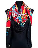 Теплый полушерстяной платок Леона 135*135 см красный/черный, фото 1