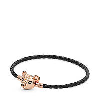 """Кожаный браслет с серебряной застёжкой """"Львиная принцесса"""" PANDORA Rose 588053CBK-S"""