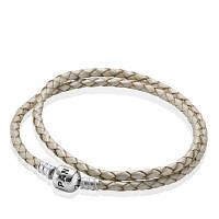 Кожаный двойной плетённый браслет Pandora Moments 590705CPL-D