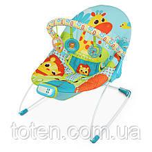 Детский шезлонг-качалка Bambi 6875 Вибрация, мелодии Жираф, голубой
