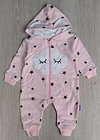 Комбинезон Murat Baby, 0-3-6-9 мес, двухнить, на молнии, звездочки, розовый