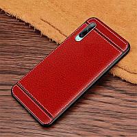 Чехол Fiji Litchi для Honor 9X Pro China силикон бампер с рифленой текстурой красный