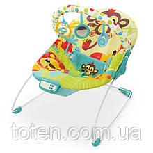 Детский шезлонг-качалка Bambi 6876. Вибрация, мелодии, желто-зеленый