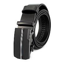 Ремень мужской кожаный на автомате черный JK-3590 (125 см), фото 1