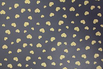 Бумага черная с рисунком сердечки для упаковки подарков 1 лист размером 85 см на 80 см