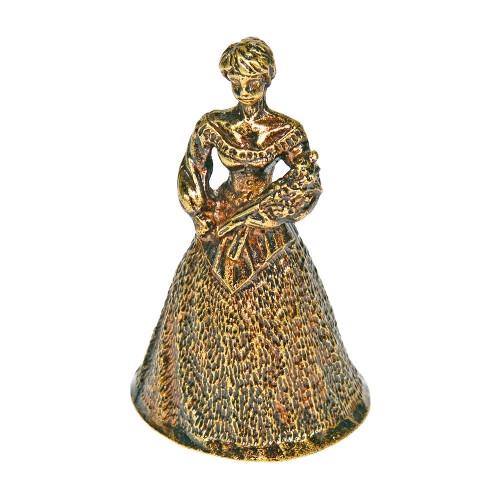 Колокольчик из бронзы Красавица с букетом