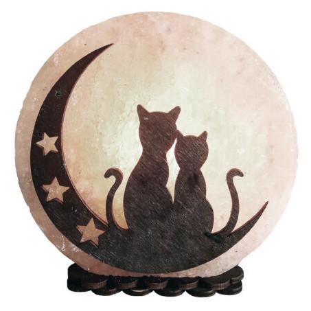Соляная лампа SaltLamp Коты на луне 3-4 кг