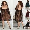 Р 48-58 Нарядное гипюровое платье с высокой талией Батал 22982