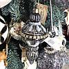 Ялинкова прикраса з декором з страз, 15см, колір - сріблясто-сірий