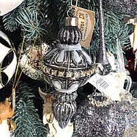 Ялинкова прикраса з декором з страз, 15см, колір - сріблясто-сірий, фото 1