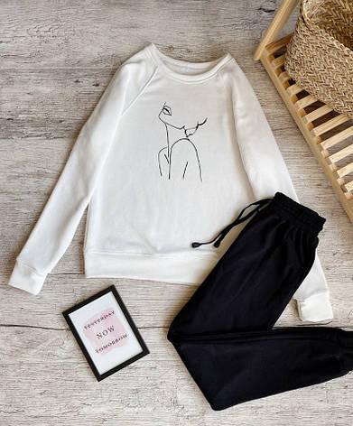 Женский спортивный костюм реглан белый , фото 2