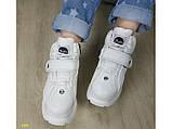 Кроссовки ботинки на высокой платформе зимние белые К2374, фото 5
