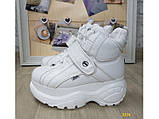 Кроссовки ботинки на высокой платформе зимние белые К2374, фото 2