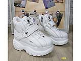 Кроссовки ботинки на высокой платформе зимние белые К2374, фото 3