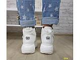 Кроссовки ботинки на высокой платформе зимние белые К2374, фото 6