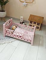 Деревянная кроватка для кукол Agnes розовая (без постельки для кукол)