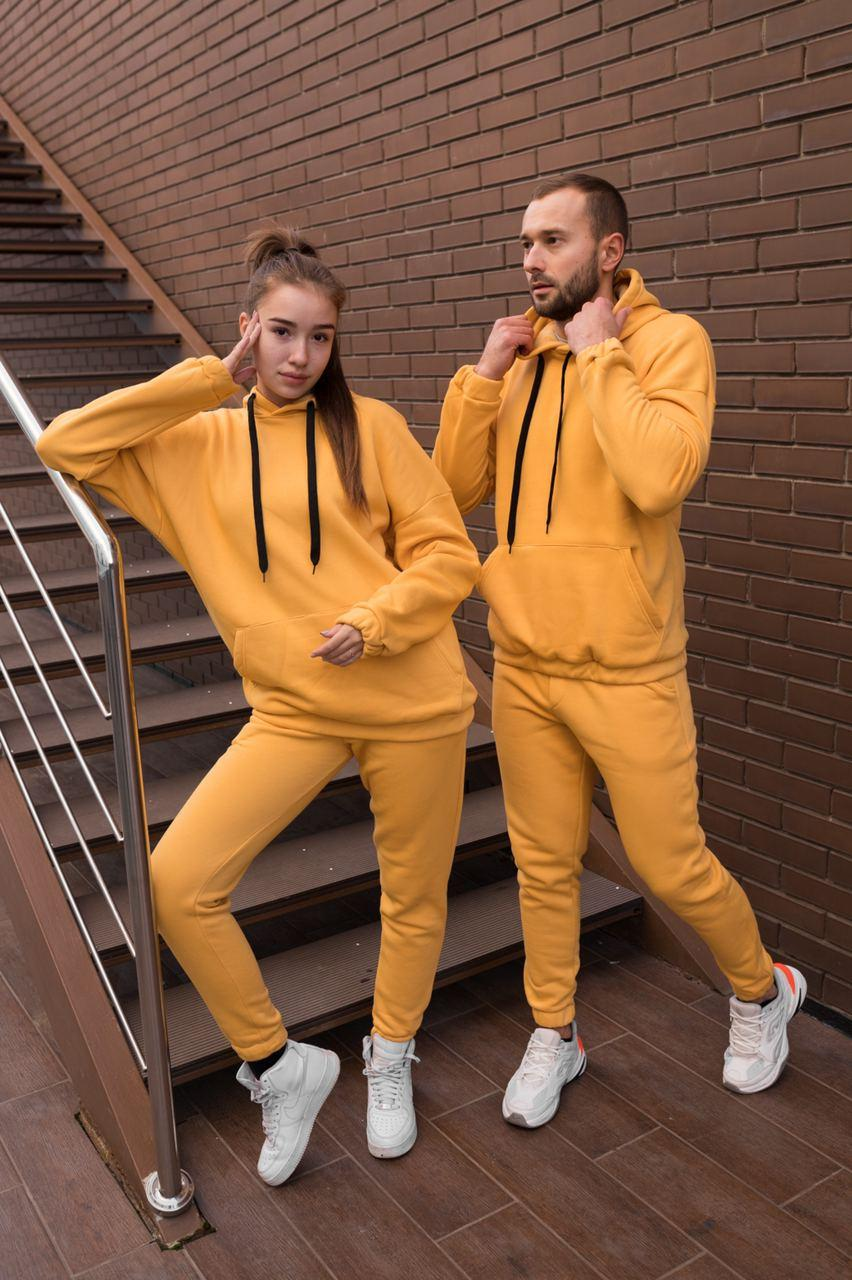 Костюмы парные кенгуру желтые оверсайз
