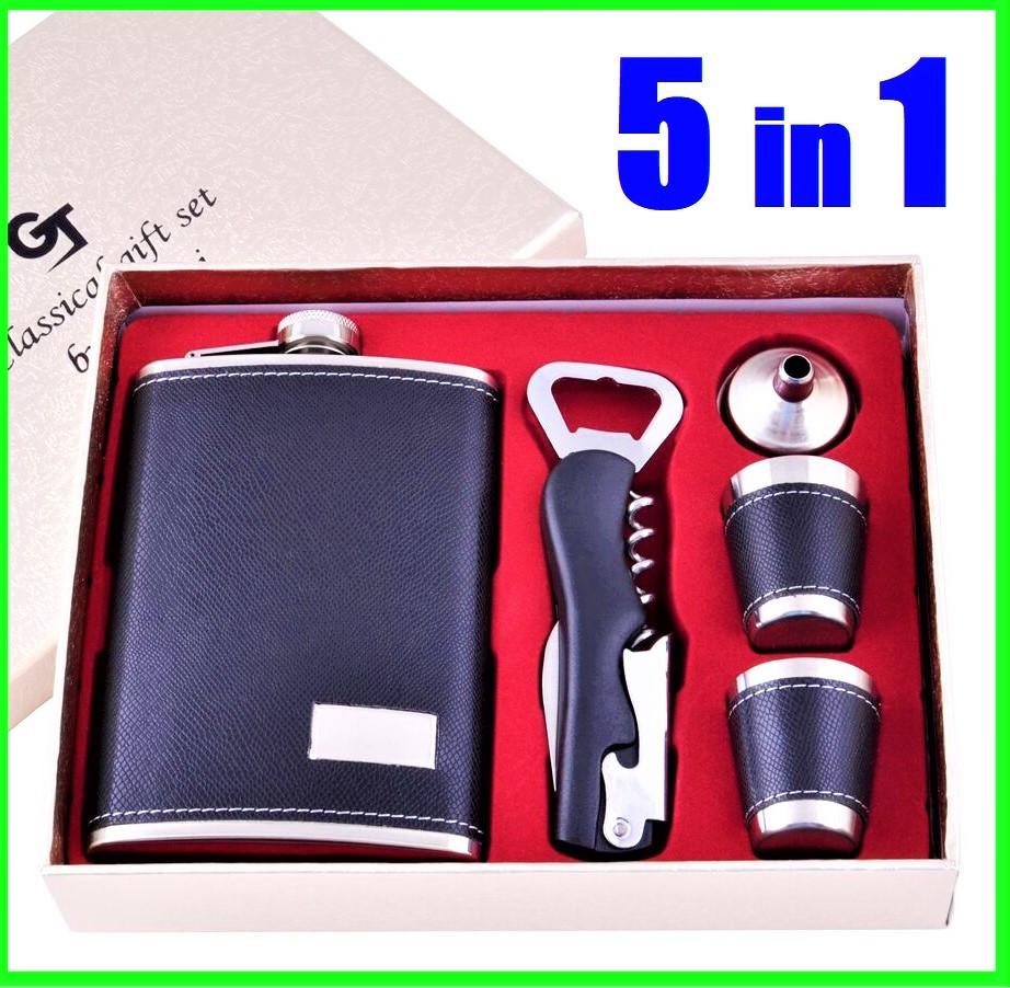 Подарочный Набор 5 в 1 ( фляга, лейка, рюмки и универсальный нож )