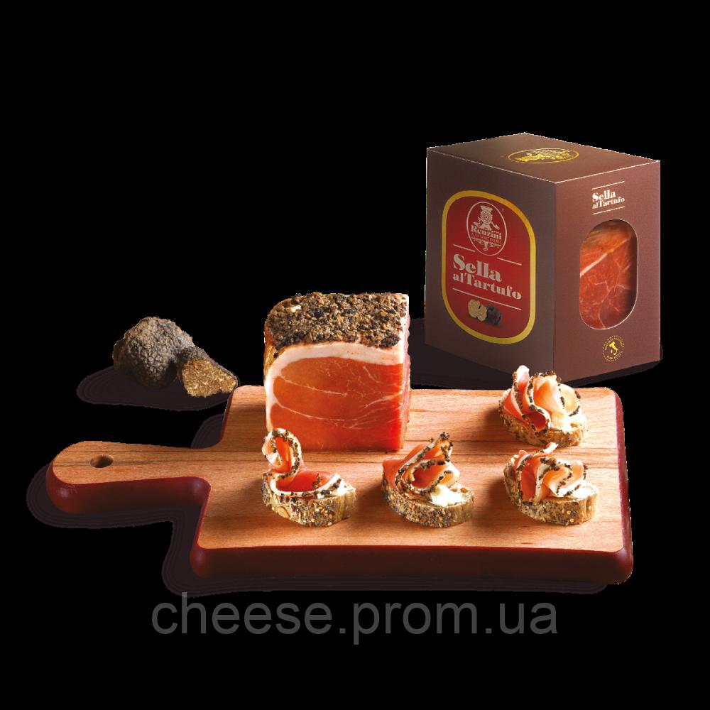 Прошутто сыровяленное с черным трюфелем без кости  9 мес. 400 г Renzini в подарочной упаковке